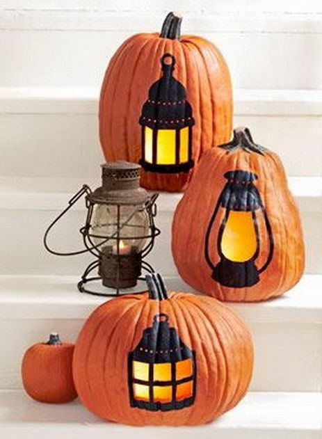 38 Halloween Pumpkin Carving Ideas - We're loving this non-traditional way to carve a pumpkin. #Halloween