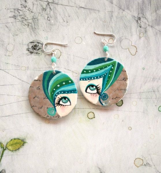 Hand painted earrings. Sterling silver. Amparo