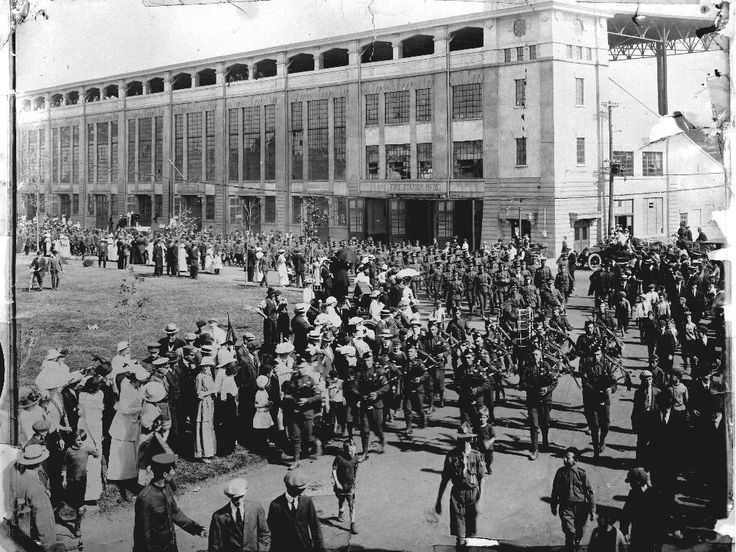 This late August 1914 picture shows Canadian troops, members of Princess Patricia's Canadian Light Infantry, parading at Lansdowne Park. The Patricias were the first Canadian regiment to see action in battle.