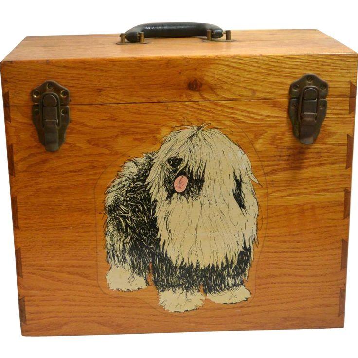 Vintage Oak Wood Dog Grooming Supply Carry Box c. 1930 www.rubylane.com #vintagebeginshere
