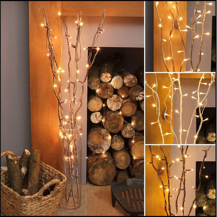 50 LED WARM WHITE FAIRY TWIG BRANCH VASE LIGHT DECORATIVE HOME WEDDING CHRISTMAS