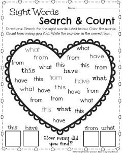 Kindergarten Worksheets for February - Valentine's theme Sight Words Worksheet. Find the words. Color them. Count and record ho
