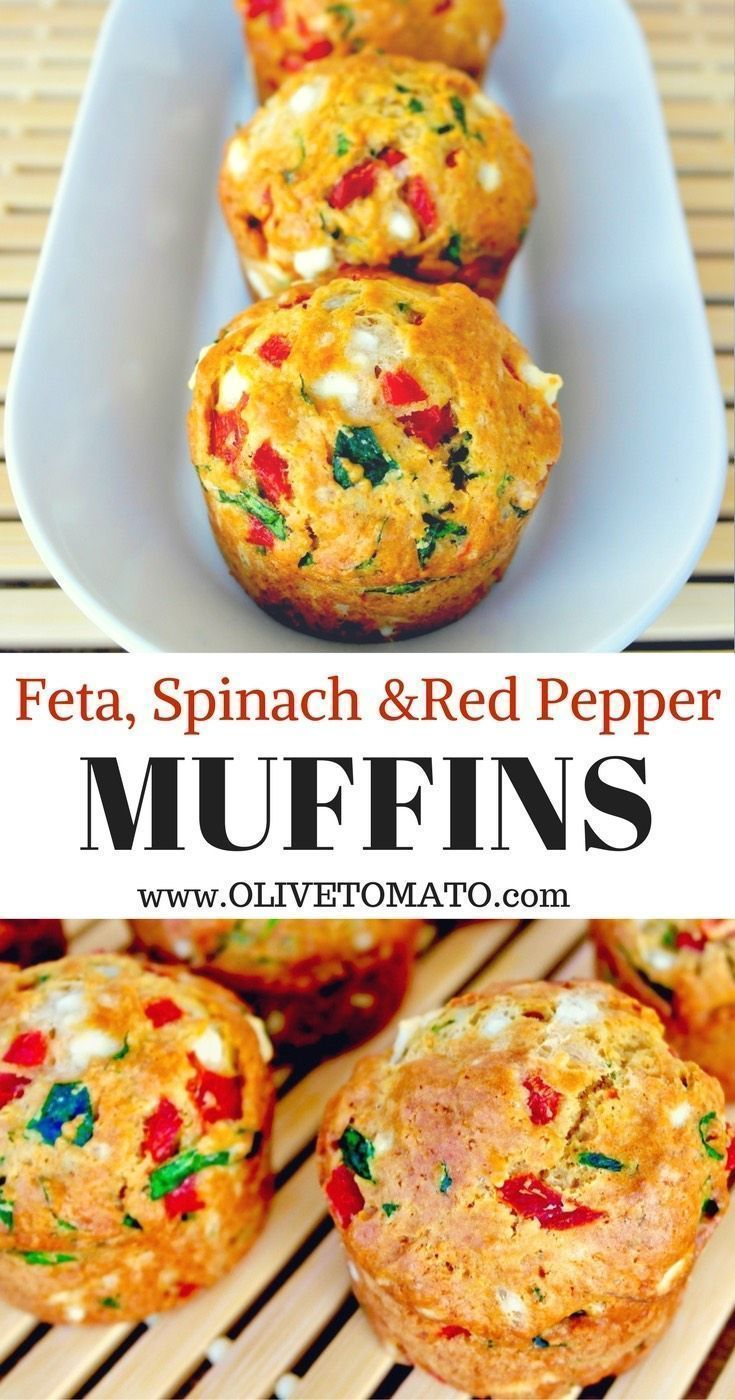 Feta, Spinach & Red Pepper Muffins Savory Mediterranean inspired muffins, packed…