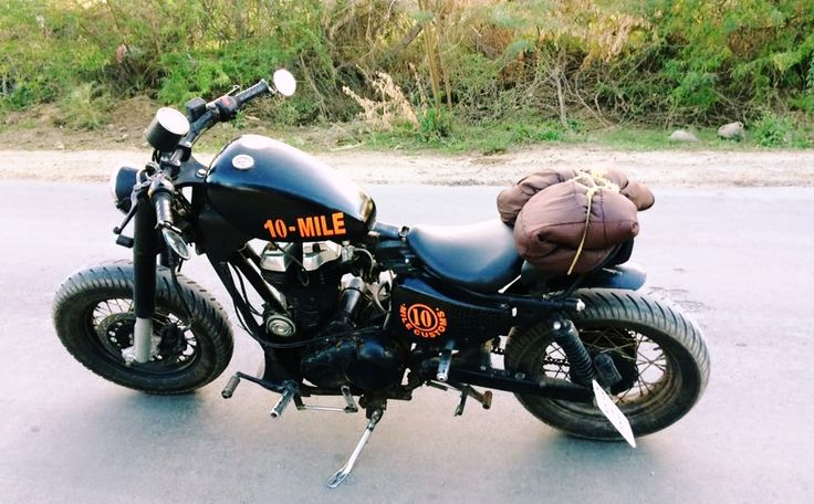 Modified Royal Enfield Bobber by 10 mile customs Jaipur India