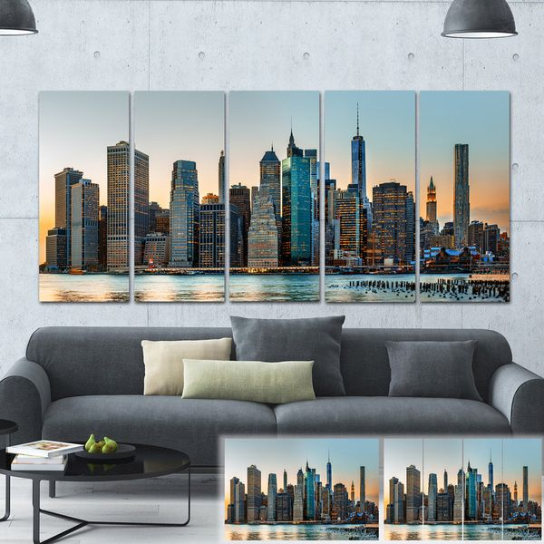 Designart New York City Skyline Panorama 5 Piece Wall: Designart 'New York City Skyline' Photography Large Canvas