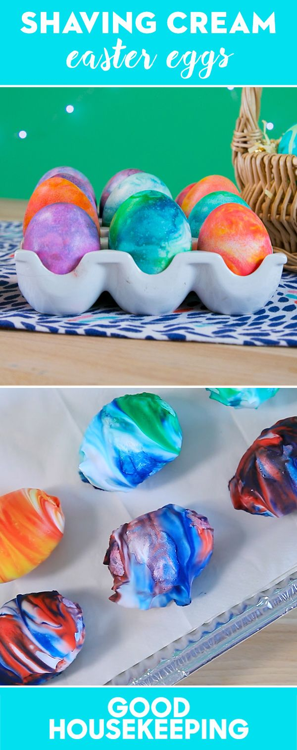 How to Create Marbled Easter Eggs With Shaving Cream. Food dye, let dry 20 minutes. Wipe off.