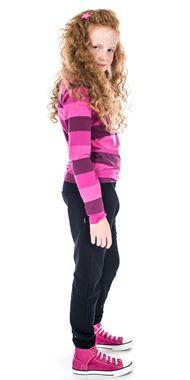 Gestreiftes T-Shirt für Mädchen mit neonrosa Glitterprint seitvertz