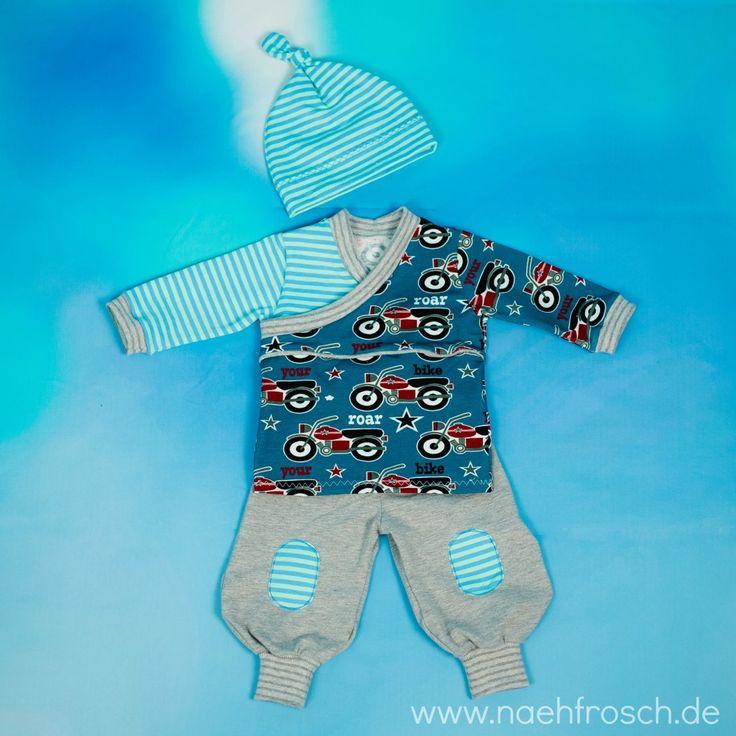 Nähfrosch Erstlingskleidung Baby Kombi Set Nähen Alles Freebook Pumphose Frida von Milchmonster Trotzkopf Shirt von Schnabelina Knotenmützchen von Klimperklein