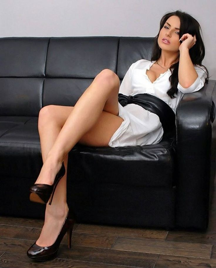 Beautiful & tall woman in sofa------short gown & heels ...