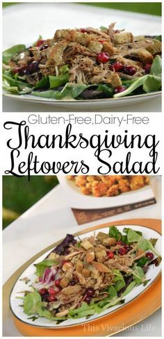 This Thanksgiving leftovers salad is easy and delicious. Using dry gluten-free stuffing mix as croutons in this salad adds bold flavors of Thanksgiving with little to no effort.   gluten-free thanksgiving recipes   gluten-free thanksgiving ideas   thanksgiving leftover recipes    This Vivacious Life #glutenfree