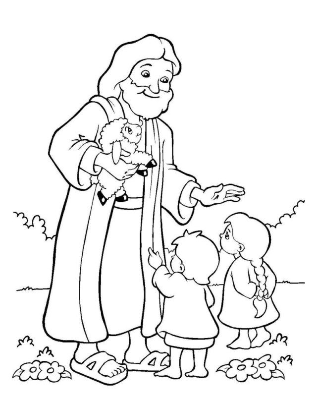 21++ Jesus and the children coloring page HD