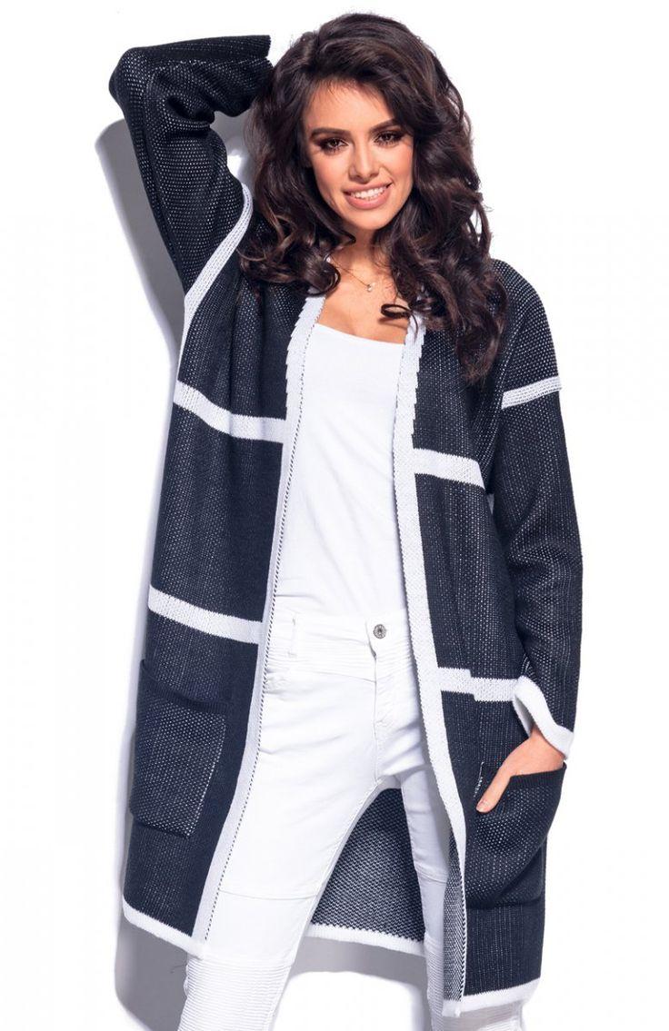 Lemoniade LS181 sweter czarny Modna narzutka damska, utrzymana w świetnym zestawieniu kolorystycznym, komfortowy, swobodny fason