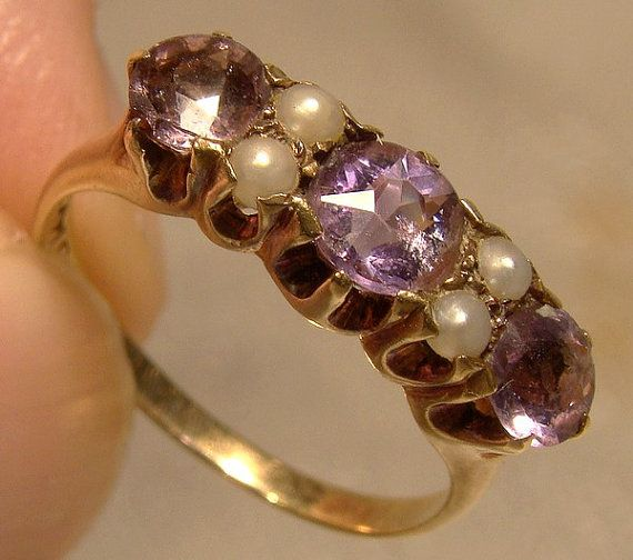Antique Birks 14K Amethysts and Pearls Ring 1900 1910 14 K