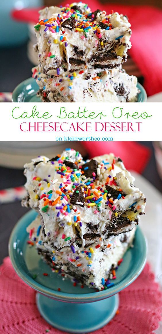 Cake Batter Oreo Cheesecake Dessert on kleinworthco.com