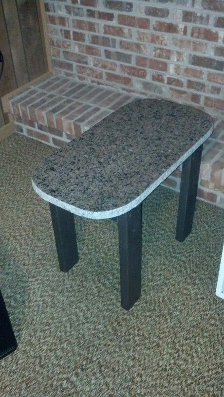 upcycled granite scrap into coffee table