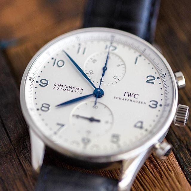 The most stylish way of measuring time — IWC Portugieser Automatic Chronograph - @iwcwatches . Photo via : @crownandcaliber . #IWCSchafhausen #IWCwatches #watch #watches