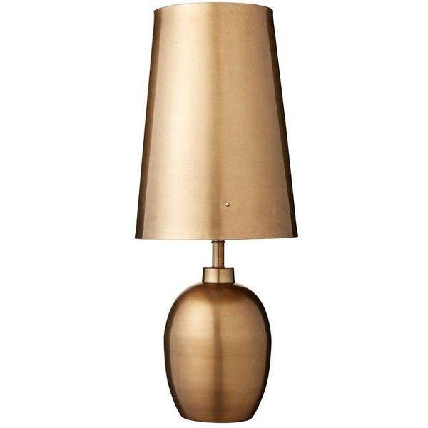 Lene Bjerre Elipse Table Lamp Brass Matt Gold Finish 63cm ($540) ❤ liked on Polyvore featuring home, lighting, table lamps, scandinavian lighting, metallic lamp, net lights, solid brass table lamps and brass lamp