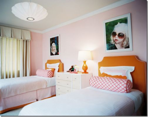 girls bedroom, pic over bed LOVE!  Color scheme is great!Little Girls, Shared Room, Girls Bedrooms, Kids Room, Kidsroom, Girls Room, Kid Rooms, Twin Beds, Girl Rooms