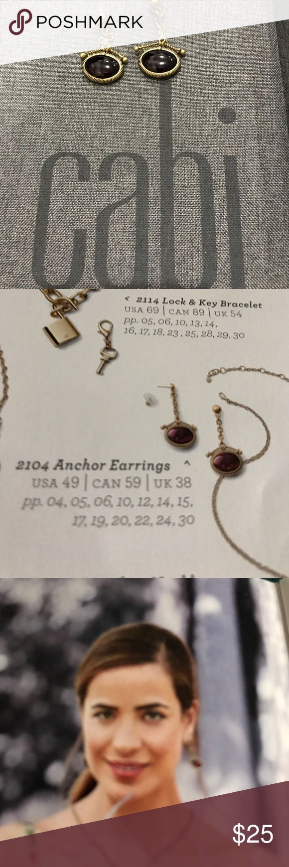 Cabi Spring 2017 Anchor Earrings Brass with anchor stamped in garnet colored red CAbi Jewelry Earrings