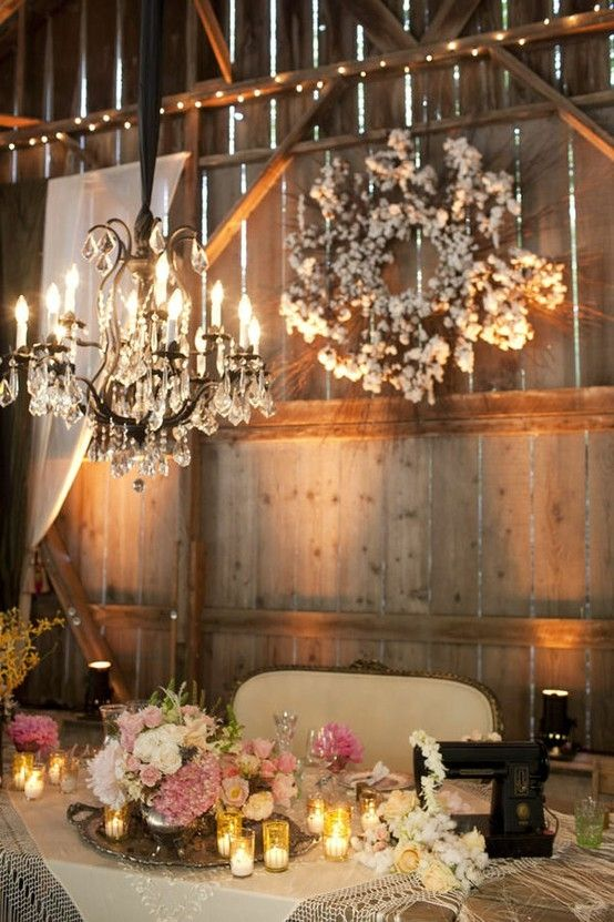 How lovely, an elegant chandelier with a charming wreath in the background (some changes would be needed to the wreath).