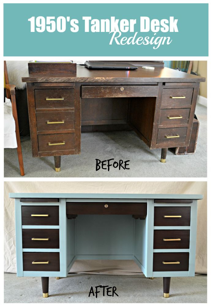 1950's Tanker Desk Redesign | laughingabi.com