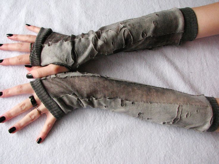 Walking Dead Arm Warmers: Charcoal ,Gray, Cement, Halloween, Fingerless Gloves, Zombie apocalypse, corpse bride