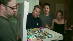 Watch Seth Rogen and James Corden Deliver Mystery Pizza Boxes Around LA
