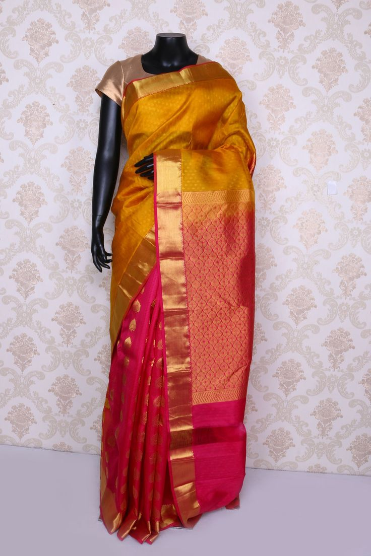 Golden #yellow & rani #pink pure silk #zari weaved mesmerising #saree with gold & pink border-SR12430