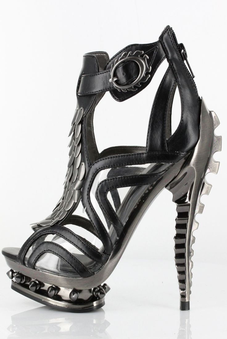 Hades Shoes - Orion - Black - Metal Goth Emo Scene Alternative Cyber Fashion Heel - Salient Seven