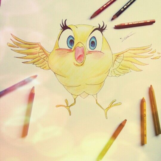 Little Happy Bird for today., wish happines come to u after see this bird :D Im use Faber Castel to find a wonderfull color (y)