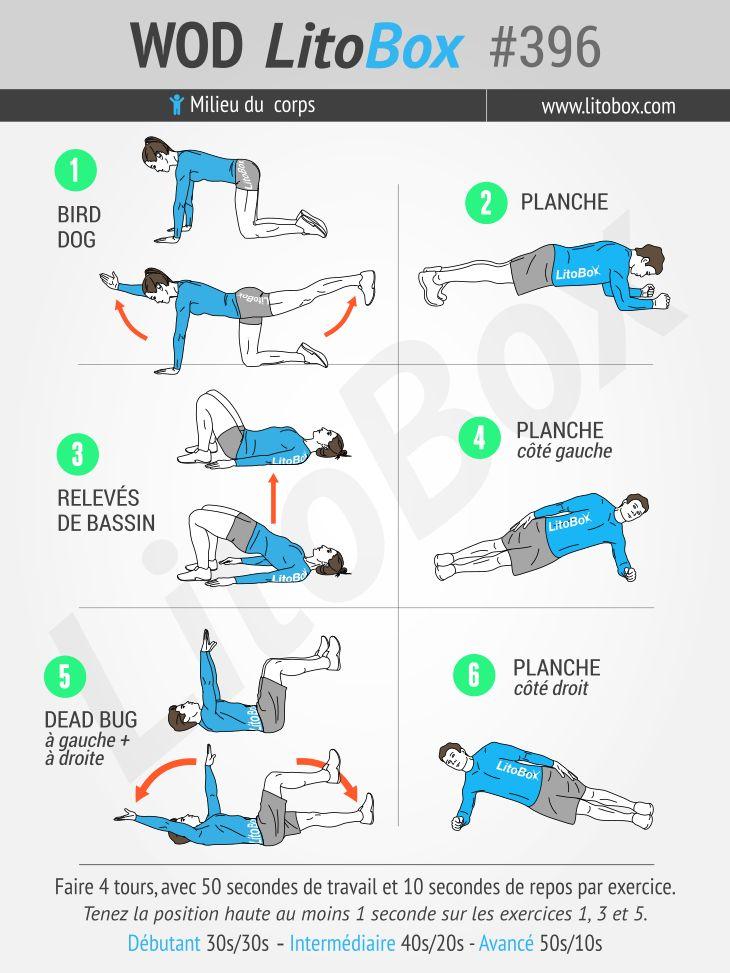 Pour prévenir le mal de dos : séance de 24 minutes d'exercices au poids du corps et sans matériel.  + Épinglez cette image pour faire cet entraînement !  Bon courage et bonne journée.  Pierre.