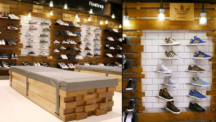 USC stores designed by Four-by-Two. (angled shoes)