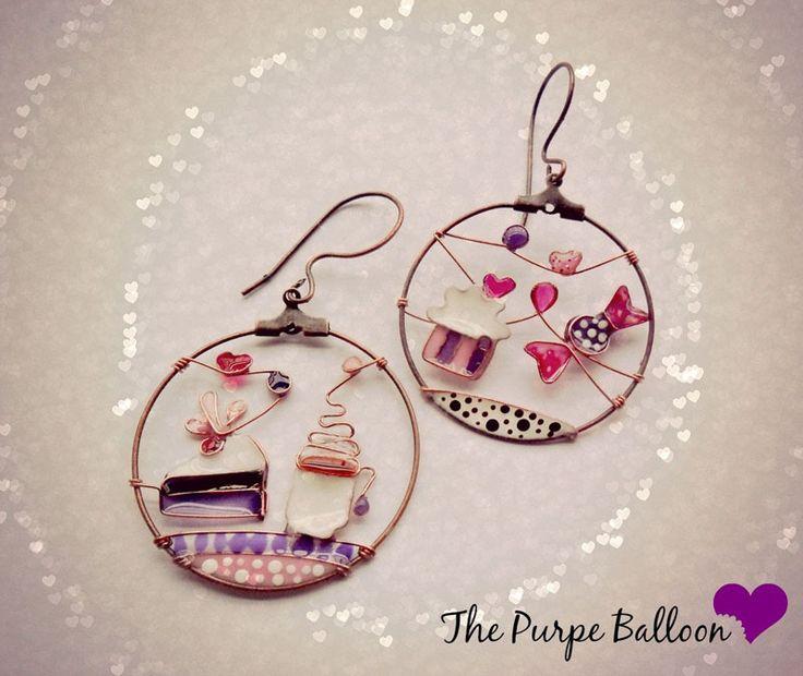 Красочные серьги The purple balloon