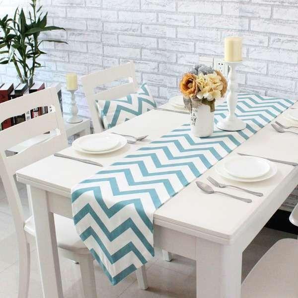 テーブルランナー 北欧の通販・ネットショッピング - 価格.com テーブルランナー ウェーブ柄 北欧風 モダン (ブルー×ホワイト)