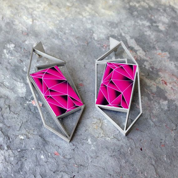 Laser Cut Geometric earring in Stainless Steel Featuring Custom Cascade Graphic Icon
