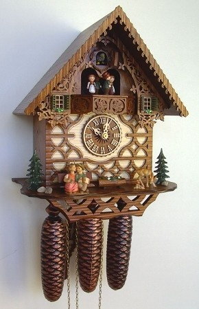 Model #8TMT 334/9 Chalet Cuckoo Clock with Animated Kissing Couple, Dancers.