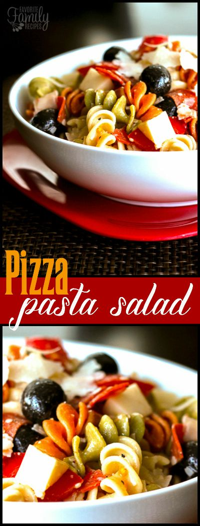 This Pizza Pasta Salad is great for summer get togethers!  It is loaded with pepperoni, tomatoes, olives, mozzarella and parmesan cheese. via @favfamilyrecipz