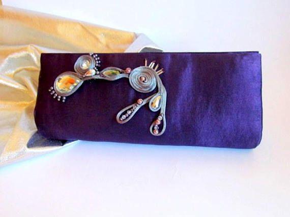 Elegant Purple Clutch Deep Purple Classy Clutch Unique