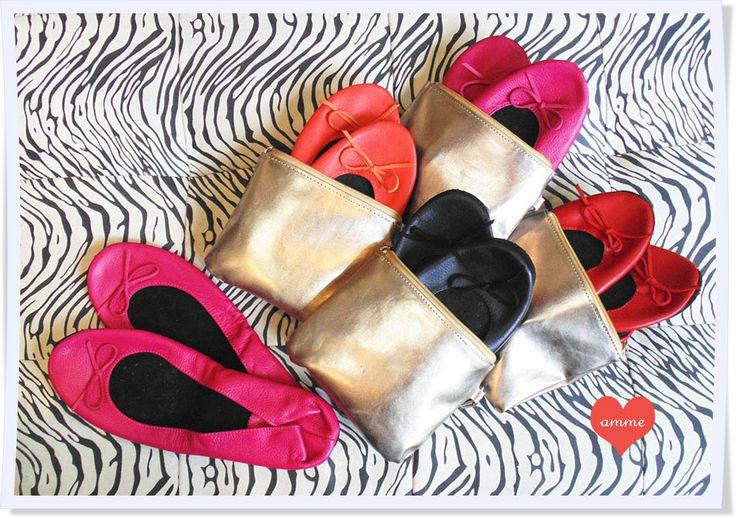 Baletas portátiles en cuero con estuche cuero dorado ! www.amme.com.co