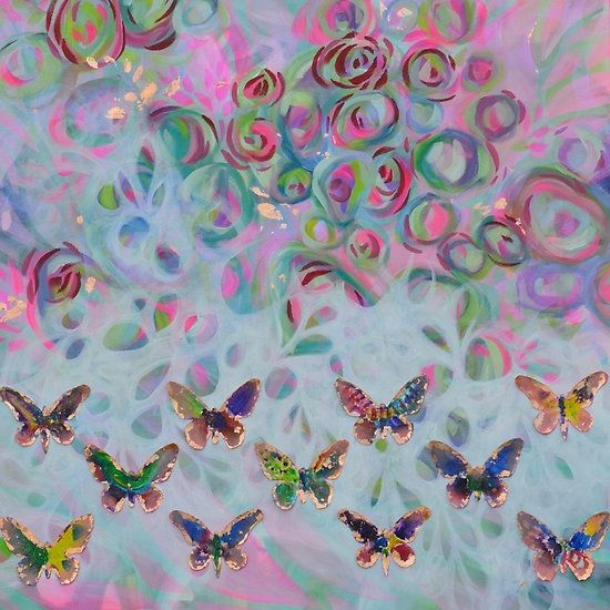 Kisses from a Butterfly Effect  by Lisarachel   She strives for her art to mimic the excitement and beauty of the light, movement, and colors in nature.   You can get this painting on a skirt, phone case, leggings, and much more!