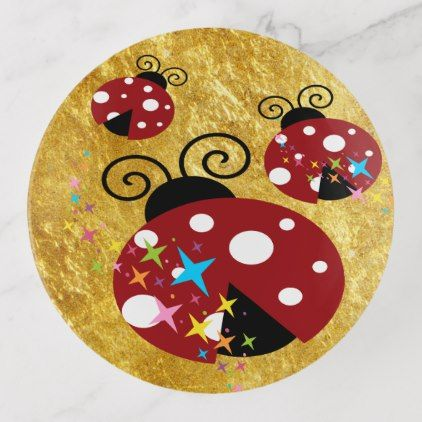 Three red and black ladybug stars and gold foil trinket trays - foil leaf gift idea special template