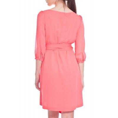 Greta - Hanna Silk Dress Coral - Kotyr.com