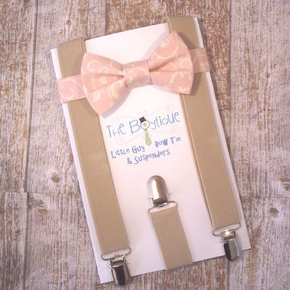 Blush+Bow+Tie+and+Suspenders+Pink+Paisley+by+TheBoytiqueExpress,+$29.00
