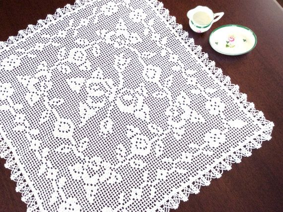 Square Lace Doily English  Roses by Aimezvousclassique on Etsy