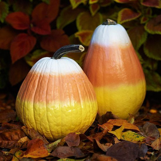 Candy Corn Pumpkins Place these colorful no-carve pumpkin decorations around your yard for a fun display this season. Choose cone-shape pumpkins and clean their surfaces. Spray-paint the bottoms and tops of the pumpkins, gradually getting lighter toward the middle to achieve the candy-corn effect.