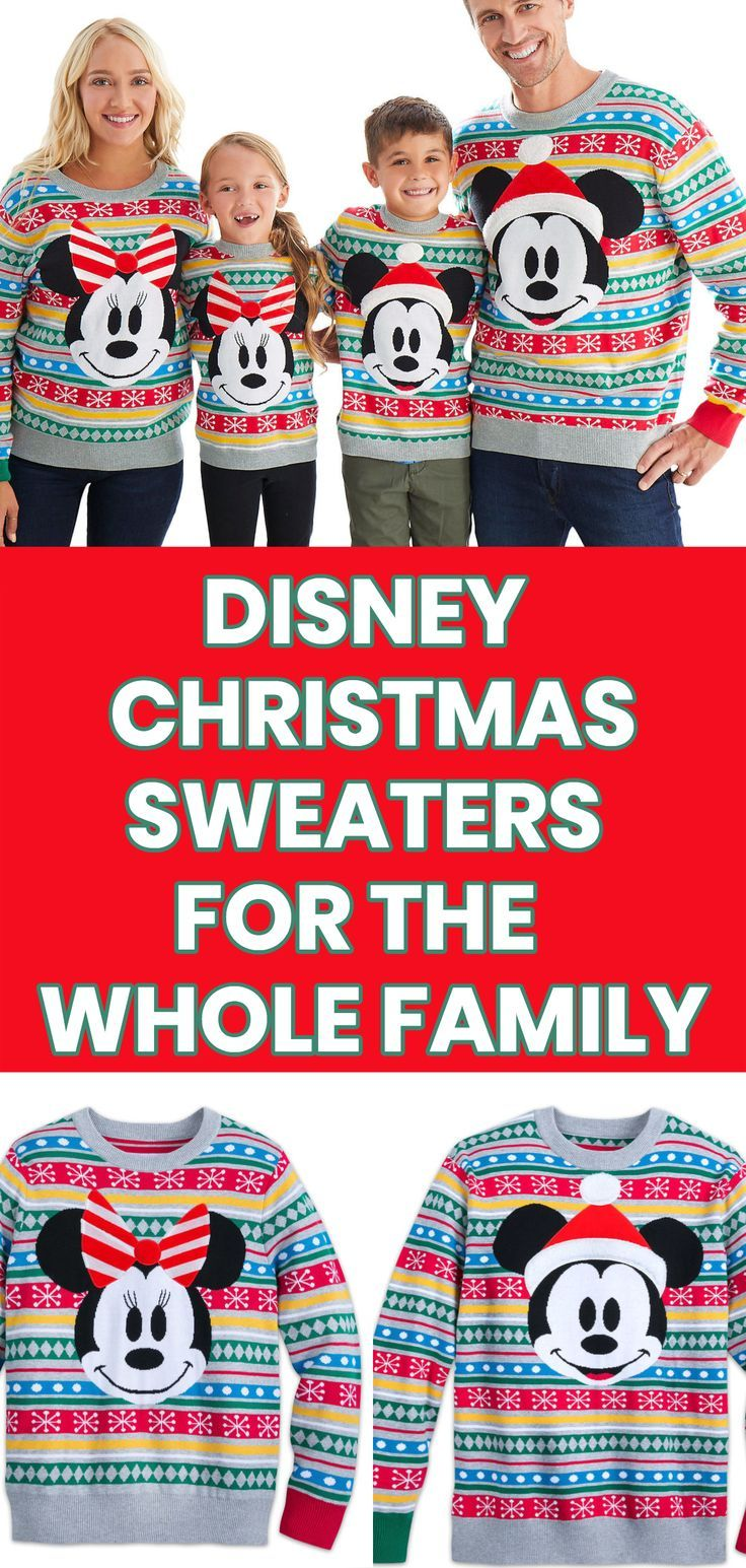 Disney Christmas Sweaters For The Whole Family How Adorable Are These Matching Family Christmas Sweaters The Die Hard Disney Family Will Love Wearing These