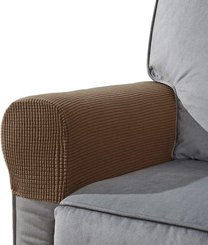 Chun Yi Set Of 2 Stretch Polyester Sofa Armchair Armrest Covers Slipcovers Furniture Protector Spandex Fabric Jacquard Anti Stain Washable Couch Arm Cover Slipc