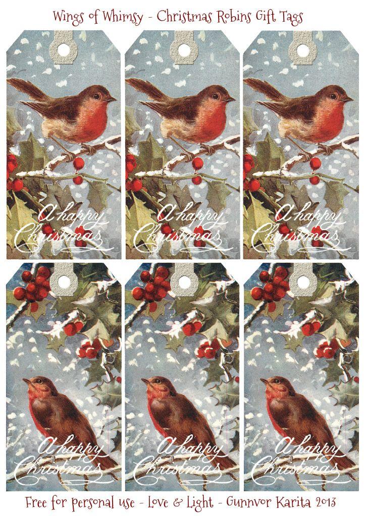 Christmas Robins Gift Tags - free