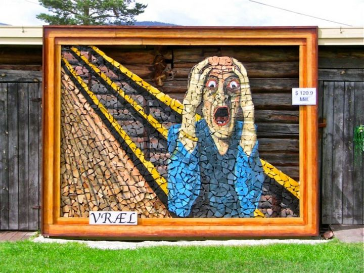 A colorful stacked wood piece inspired by Edvard Munch's 'The Scream.'