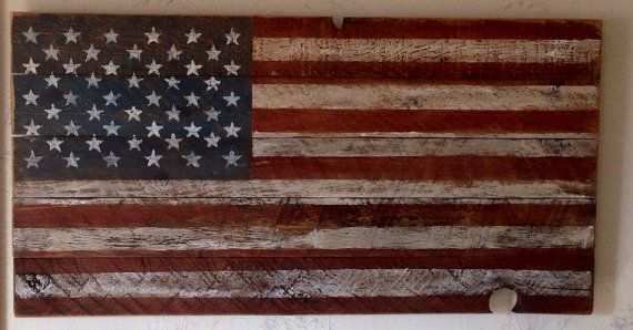 American Flag Made From Reclaimed Rustic Saw Marked Barn